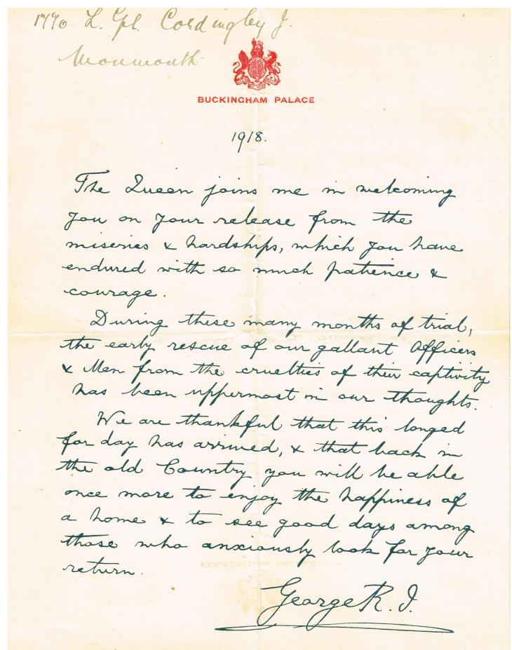Hand_written_Letter_of_Recognition_for_World_War_1_POW_from_King_George_V_1918_sent_to_Lance_Corporal_James_Cordingley